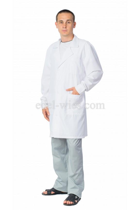 Халат мужской медицинский прямого классического кроя с английским воротником и длинным рукавом