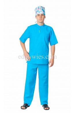 Мужской медицинский костюм с воротником стойкой и тремя накладными карманами