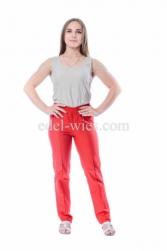 Женские медицинские брюки прямые классического кроя на двойной резинке