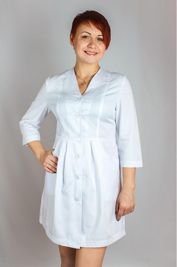 Женский медицинский халат без воротника с V-образным вырезом и рукавом ¾