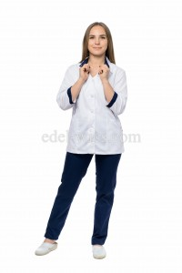 Женский медицинский костюм с рубашечным воротником и каплевидным вырезом
