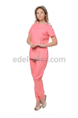 Костюм медицинский женский без воротника с оригинальной застежкой