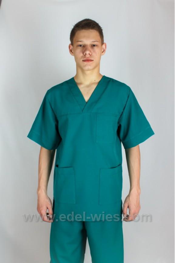 Мужской медицинский костюм с V-образным вырезом и тремя накладными карманами
