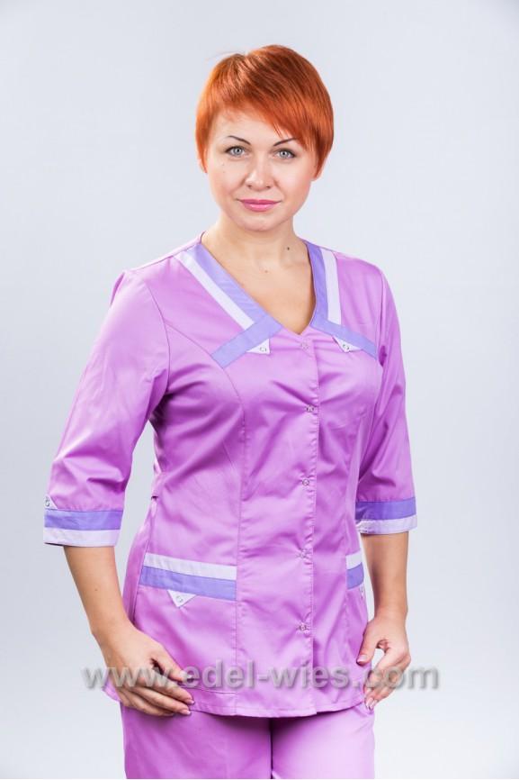 Костюм медицинский женский без воротника с v-образным вырезом