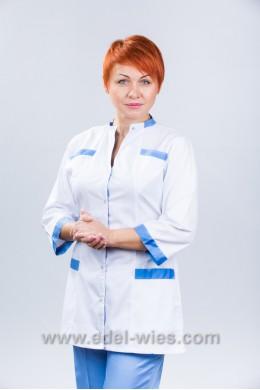 Костюм медицинский женский под горло с воротником стойкой