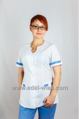 Женский медицинский костюм с каплевидным вырезом и коротким рукавом