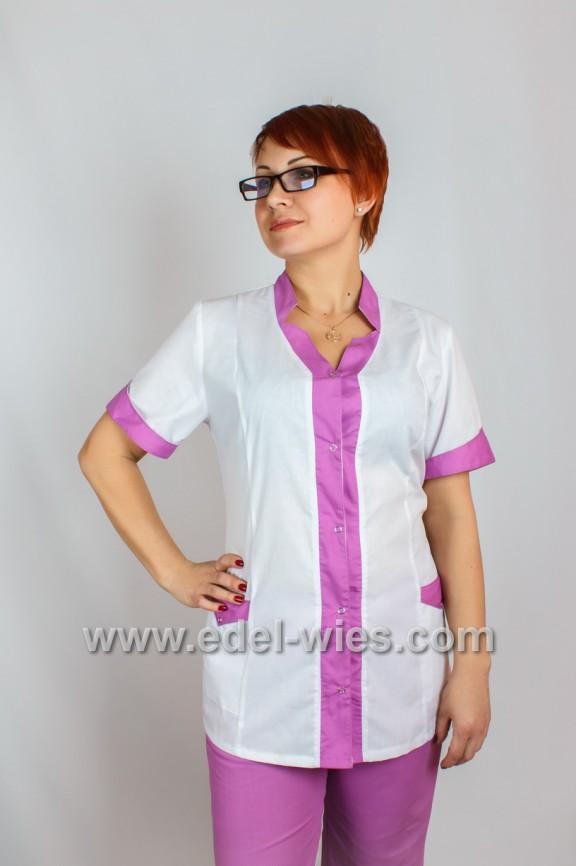 Женский медицинский костюм с воротником стойкой переходящей в планку и коротким рукавом