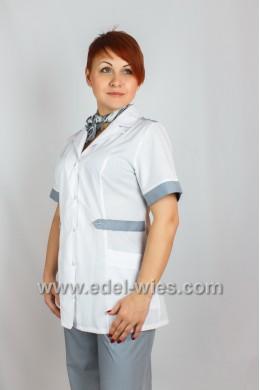 Женский медицинский костюм с английским воротником и коротким рукавом