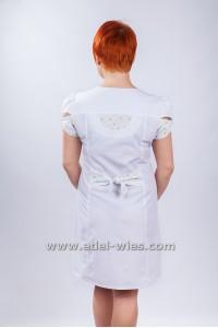 Халат медицинский женский без воротника с v-образным вырезом