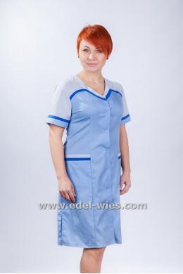 Халат медицинский женский комбинированный без воротника с v-образным вырезом