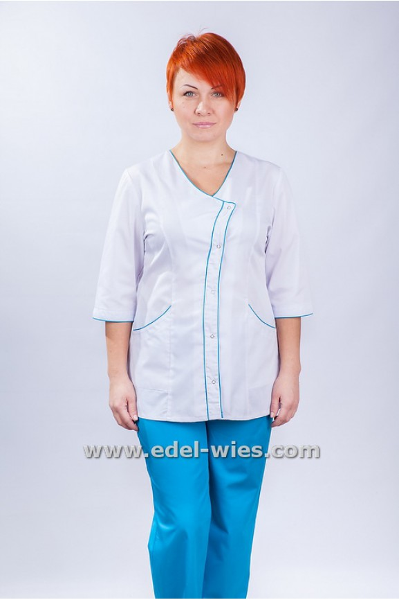 Костюм медицинский женский с застежкой «косая планка» без воротника с v-образным вырезом