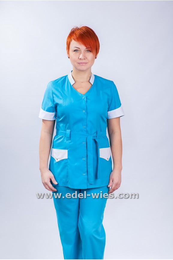 Женский медицинский костюм с воротником стойкой под пояс и коротким рукавом