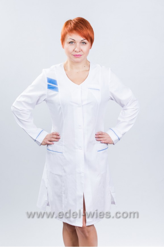 Женский медицинский халат без воротника и длинным рукавом