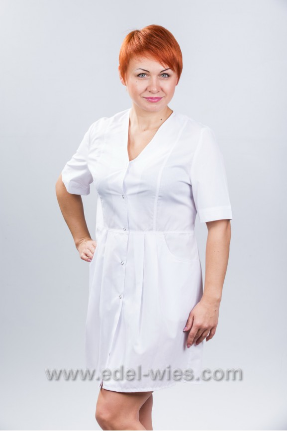 793cca9392f08 Женский медицинский халат без воротника с V-образным вырезом