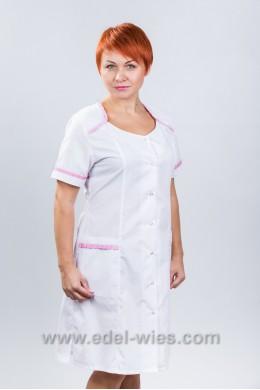 Халат медицинский женский без воротника с круглым вырезом отороченным рюшей