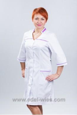 Халат медицинский женский с воротником двойная стойка и V-образным вырезом