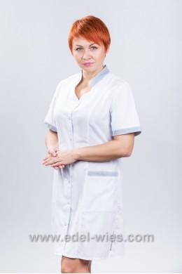Халат медицинский женский с воротником стойкой и v-образным вырезом