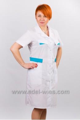 Халат медицинский женский с английским воротником и коротким рукавом