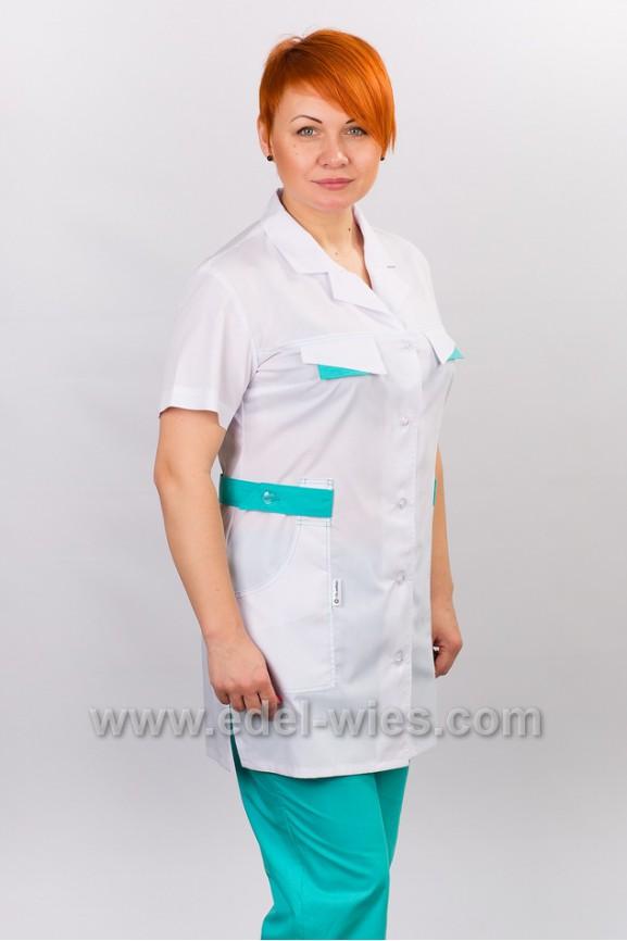 Костюм  медицинский женский с английским воротником и коротким рукавом