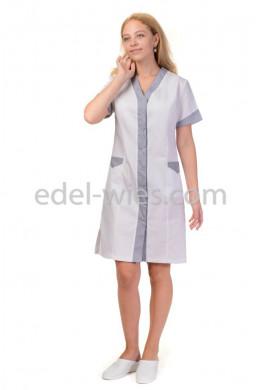 Женский медицинский халат без воротника с планкой и коротким рукавом