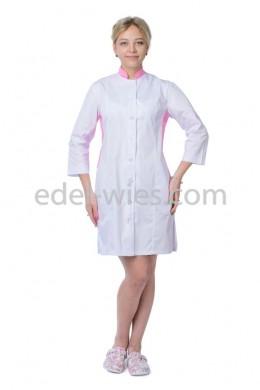 Женский медицинский халат с воротником стойкой с рукавом ¾ (регулируемым)