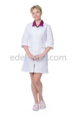 Женский халат медицинский с воротником апаж