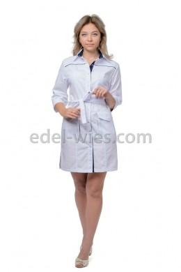 Халат медицинский женский  с рубашечным воротником под пояс