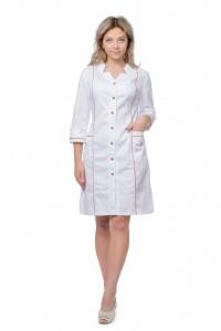 Женский медицинский халат с фигурным вырезом и рукавом ¾