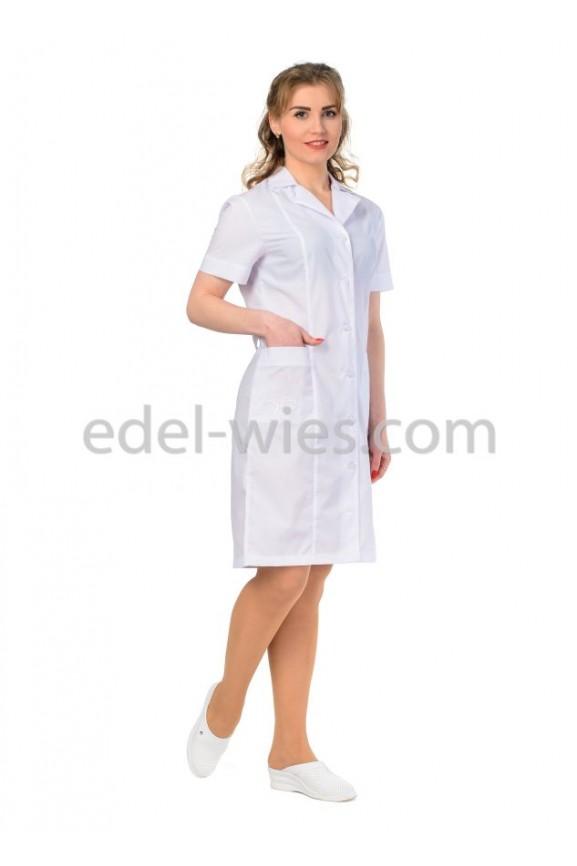 Женский медицинский халат с английским воротником и коротким рукавом