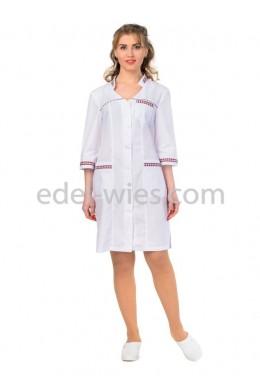 Халат медицинский женский с воротником стойкой, отороченной клетчатым кантом