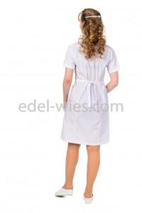 Женский медицинский халат с воротником стойкой переходящей в планку и коротким рукавом