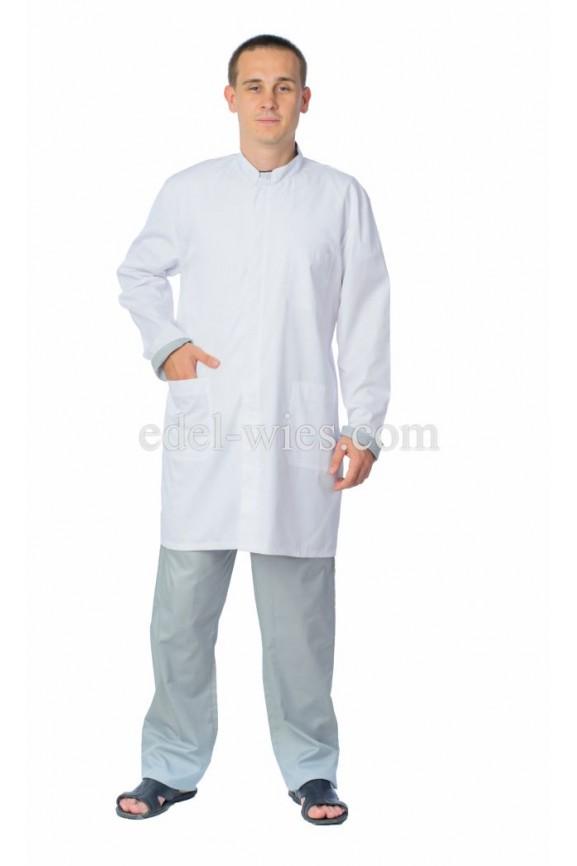 Халат мужской медицинский прямого классического кроя с  воротником стойка и длинным рукавом