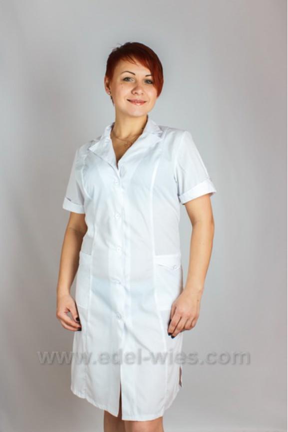 7401952eaf166 Женский медицинский халат с английским воротником и коротким рукавом