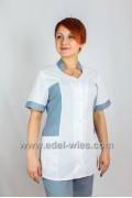 Женский медицинский костюм с воротником стойкой и коротким рукавом